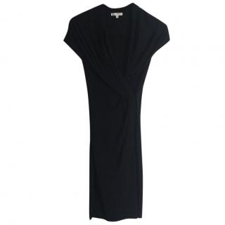 Paule Ka black stretchy viscose draped black dress