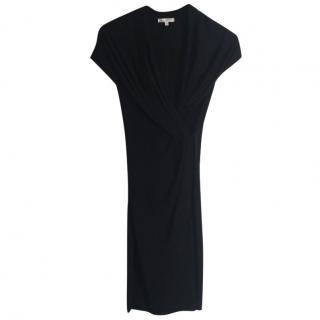 Paule Ka black stretchy viscose draped black dress