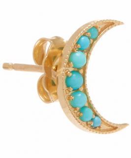 Andrea Fohrman  Turquoise Crescent Moon Stud Earring 18ct Gold