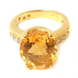 H.Stern Citrine & Diamond Ring 18ct Gold