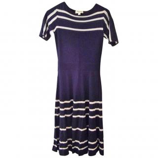 Temperley Navy striped knitted dress