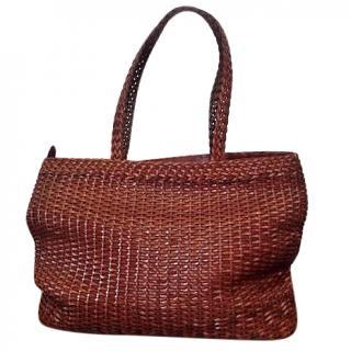 Cole-Haan Leather Basketweave Tan Tote