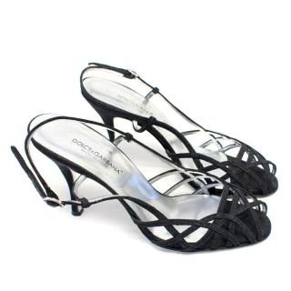 Dolce and Gabbana Shimmery Black Strappy Sandals