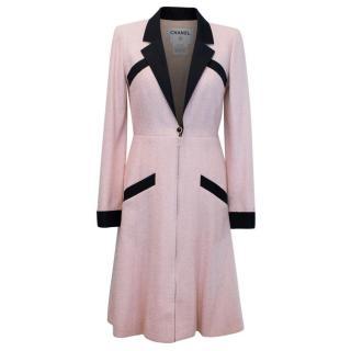 Chanel Silk Tweed Milkshake Pink and Black Dress Coat