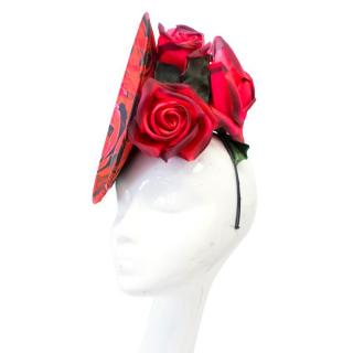 Philip Treacy Red Fascinator Hat with Roses