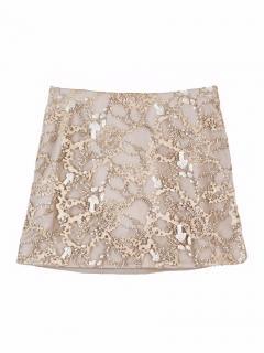 Mary Katrantzou wool and foliage lace skirt