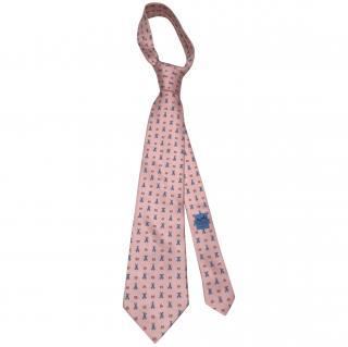 Hermes 100% Silk Pink Rabbit Tie RRP �130.