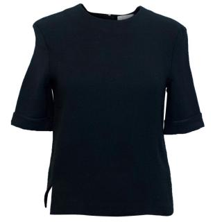 Acne Black T-Shirt with Exposed Silver Zip