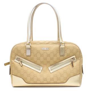 Gucci Gold Canvas Tote Bag