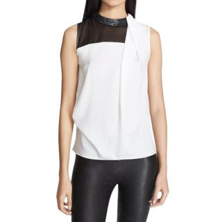 Robert Rodriguez Embellished Stretch Silk Top