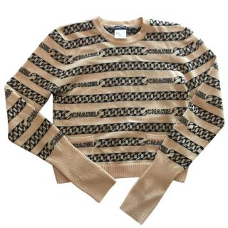 Chanel Vintage Logo Chain Knit Sweater
