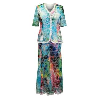 Georgede Multicolour Lace Top and Skirt Set