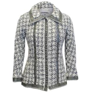 Chanel Black and White Tweed Jacket with Organza Trim