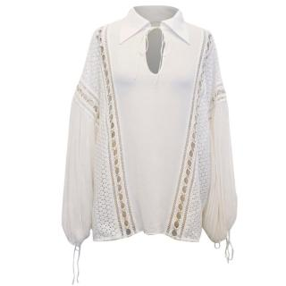 Chloe White Embroidered Blouse with Gold Details