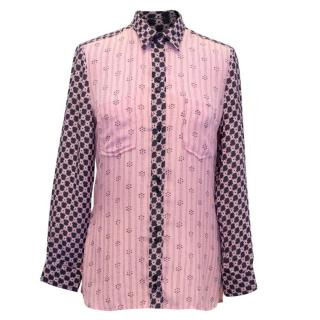 Isabel Marant Pink and Black Silk Printed Shirt