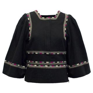 Isabel Marant Black Cotton Top with Embroidery