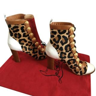 Christian Louboutin Leopard Print Ankle Boots