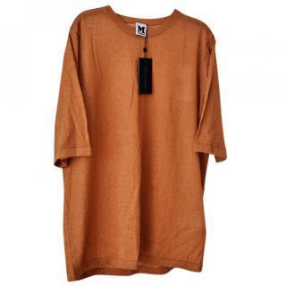 M Missoni KN SS Bronze Lurex Tee Fine Knit Jumper Brand new Tags UK 16