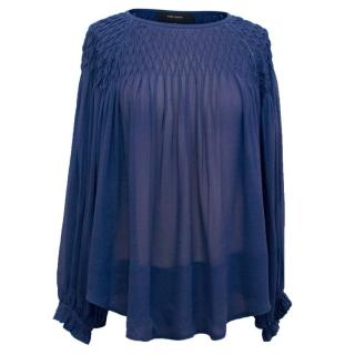 Isabel Marant Blue Silk Blouse with Pleating