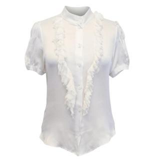 Prada White Silk Blouse