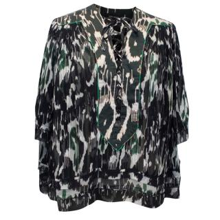 Isabel Marant Silk Printed Sheer Lace Up Front Top