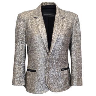 Zadig & Voltaire Deluxe Silver Sequin Blazer