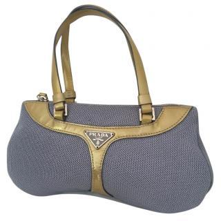 Prada Light Blue Fabric & patent Gold handbag