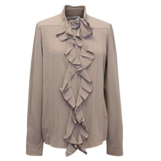 Chloe Beige Silk Blouse with Ruffle Details
