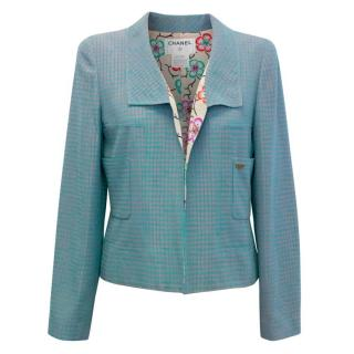 Chanel Cropped Teal and Tan Check Blazer