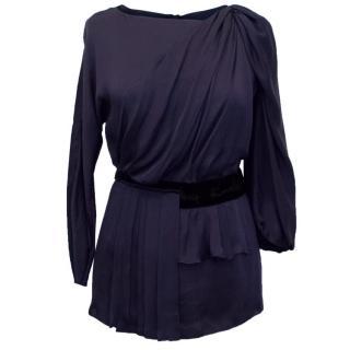 Prada Navy Silk Blouse with Velvet Detail