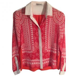 Emma Cook red silk lace print blouse