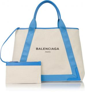 Balenciaga Cabas Leather Trimmed Canvas Tote