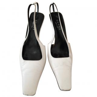 Gucci white sandals with G logo in the heel 38,5