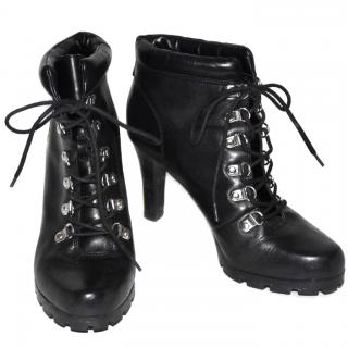 Lauren Ralph Lauren Black Lace Up Ankle Boots