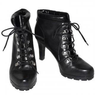 Lauren Ralph Lauren Black Lace Up Ankle Boots