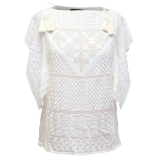 Isabel Marant Cream Silk Blouse with Embroidery