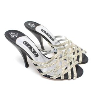 Gina Black and Silver Embellished Sandals