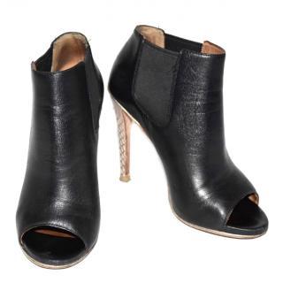 Coach Leather Peep Toe Boots