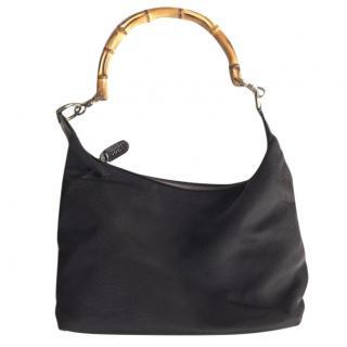 Gucci brown twill bamboo handle boho bag