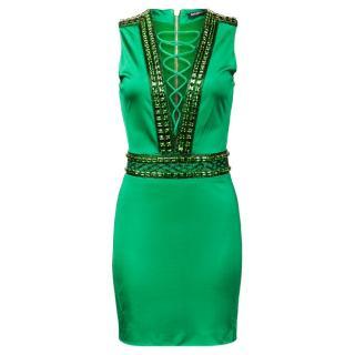Balmain ss16 Green Embellished Dress