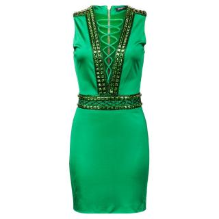 Balmain ss16 Green Embellished Dress