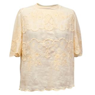 Isabel Marant 'Rumba' Yellow Ramie Embroidered Top