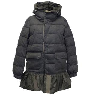 Moncler Grey Down Jacket With Flared Hem