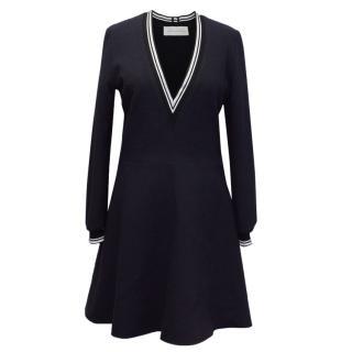 Victoria Victoria Beckham Blue Deep V Neck Trim Dress