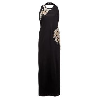 Balmain SS16 Crystal Embellished Black Maxi Dress