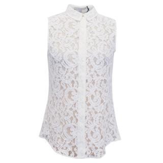 Victoria Beckham Sleeveless White Lace Blouse