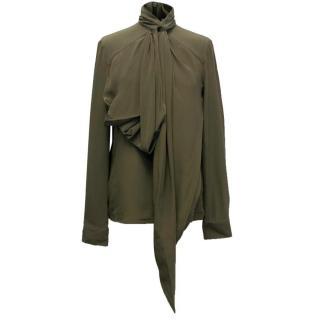 Givenchy Khaki Silk Blouse with High Neck
