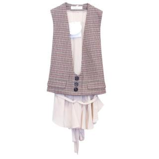 Chloe Houndstooth Wool Blwnd Waistcoat with Silk Back