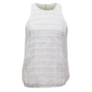 Rag and Bone Cream Silk Top with Embroidered Sheer Overlay