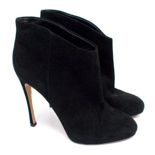 Gianvito Rossi Black Suede Heeled Ankle Boots